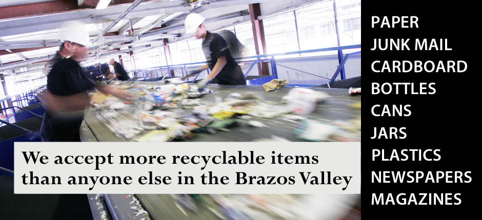 Brazos Valley Trash Valet Recycling Services Banner 2
